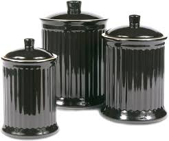 Kitchen Decorative Canisters Amazon Com Omniware Simsbury Black Stoneware Canister Set Of 3