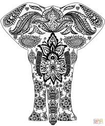 elephant zentangle coloring page free printable coloring pages