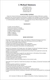 Chemist Resume Samples by Professional Chemical Technicians Templates To Showcase Your