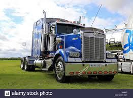 kenworth semi trucks alaharma finland august 12 2016 classic blue kenworth w900