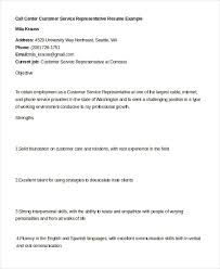 Resume For Call Center Jobs by 6 Call Center Customer Service Representative Resume Resume Resume