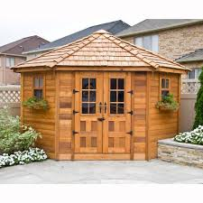 Backyard Storage Building by 9 Ft X 9 Ft Penthouse Cedar Garden Shed Browns Tans Backyard