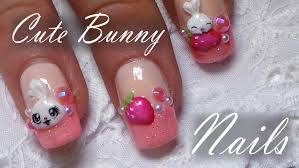 cute bunny u0026 strawberry nail art tutorial easy 3d acrylic nail