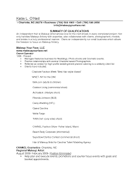 resume writing examples for makeup artists