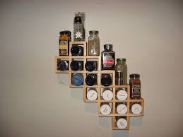 Best Spice Racks For Kitchen Cabinets Kitchen Functional Wooden Spice Rack With Simple Two Levels Wall