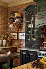 kitchen style wall hanging copper pots rack brick wall french