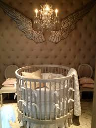 comfortable high round baby crib for nursery room bedroom
