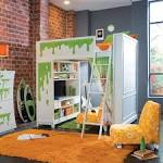Space saving bedroom ideas Fun colorful kids room loft bed design ...