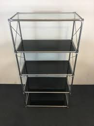 ikea contemporary laxvik chrome and black glass four tier shelving