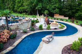 Backyard Lazy River Pool Design With Stone Liner And Concrete - Backyard river design
