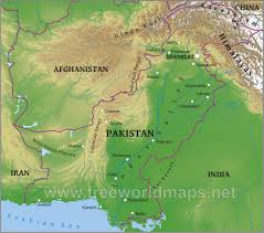 World Map Asia by Pakistan Physical Map