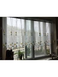 winston daisy embroidered grommet cafe sheer curtains for kitchen