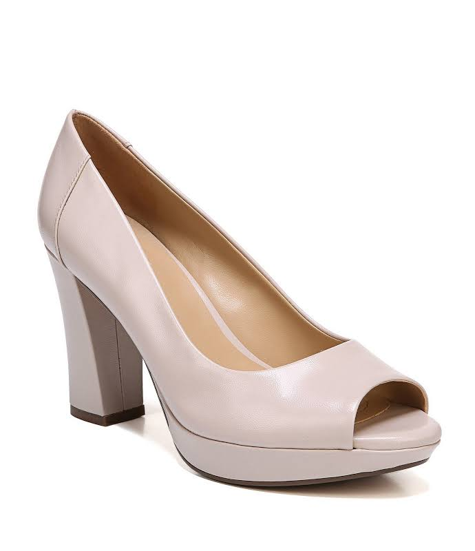 Naturalizer Amie Leather Peep Toe Classic Pumps, Pink,