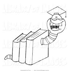 clip art of a coloring page of a graduate worm in books by hit