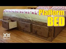 Platform Storage Bed Plans With Drawers by Make A King Sized Bed Frame With Lots Of Storage Youtube