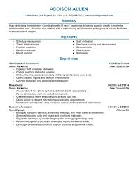 administrative job resume diaster   Resume And Cover Letters Unforgettable Administrative Coordinator Resume Examples to Stand     Administrative Coordinator Resume Sample