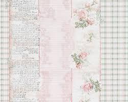 Shabby Chic Pink Wallpaper by Shabby Chic Vintage Pink Rose Green Check Stripe Wallpaper Ebay