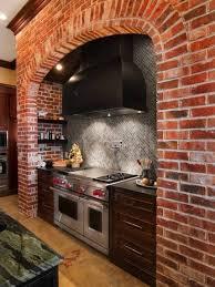 interior design wonderful brick backsplash with black range hood