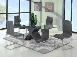 European Dining Room Furniture Contemporary Gray Base Glass Dining Table Modern Dining