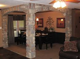 in vogue square brick interior columns with ceiling fan lights as
