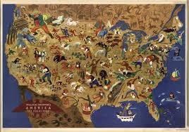 Big Map Of The United States by William Gropper His Midcentury Map Of American Folklore