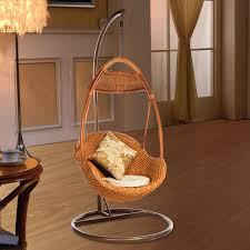 indoor cane wood egg shaped hanging swing chair 1016 in hotel
