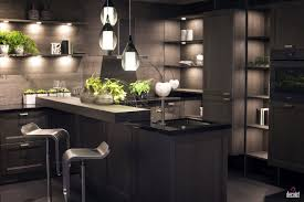 Dark Grey Cabinets Kitchen Black Small Breakfast Bar White Marble Backsplash And Countertop