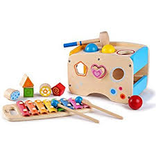 amazon com hape pound u0026 tap bench with slide out xylophone toys