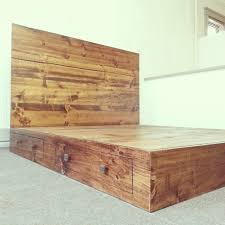 rustic california king size platform bed frame with storage