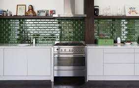 Green Tile Backsplash by Emerald Green Kitchens Emerald Green Glossy Subway Tile Kitchen