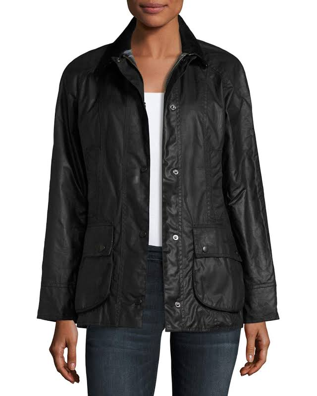 Barbour Beadnell Wax Jacket, 12, Black