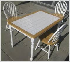 Tiled Kitchen Table by White Tile Kitchen Table