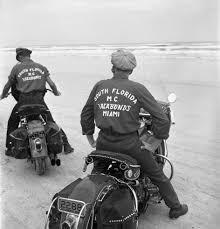 images about Early Panhead Era on Pinterest   Open roads     Pinterest Two members of the Vagabonds Motorcycle Club  South Florida  maneuver their non racing  single seat hogs on the Daytona sands  For decades  the bikes that
