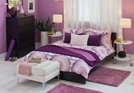 bedroom white and orange paint idea with purple wardrobe open