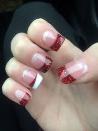 red christmas acrylic nails would e cute with any color for