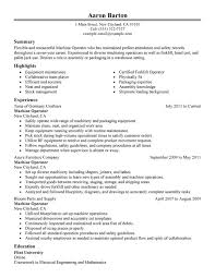 Journeyman Electrician Resume Sample by Unforgettable Machine Operator Resume Examples To Stand Out