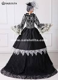 18th Century Halloween Costumes Black Printed Marie Antoinette Dress 18th Century Civil War