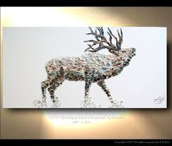 elk painting on canvas deer original artwork home decor gift