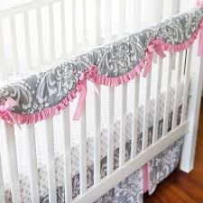 pink and gray crib rail cover set pink baby bedding baby