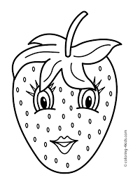 strawberry with eyes fruits coloring pages simple for kids