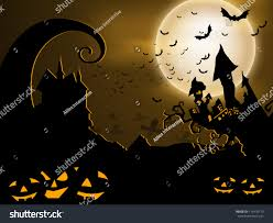 scary halloween background pumpkins haunted house stock vector