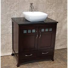 Solid Wood  Bathroom Vanity Cabinet Glass Vessel Sink Faucet MO - Black bathroom vanity with vessel sink