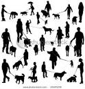 Set of People with Dogs on Leashes - Vector Clip Art Illustration ... picturesof.net