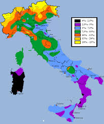 Italy Region Map by Percentage Of Blond Hair In Italy Maps Pinterest