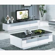 Living Room Furniture Tv Cabinet Black And White Tempered Glass Coffee Table Living Room Furniture
