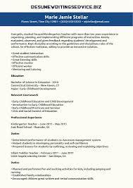 Kindergarten Teacher Resume Sample   Resume Writing Service Resume Writing Service