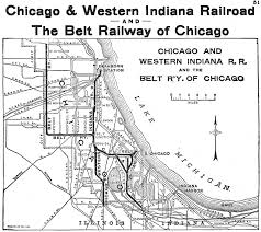 Chicago Line Map by The Chicago And Western Indiana Railroad