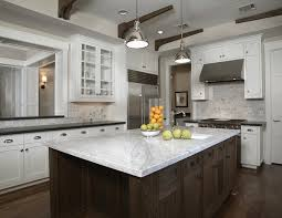 Kitchens Yoke Pendants White Carrara Marble Countertops Subway - Carrara tile backsplash