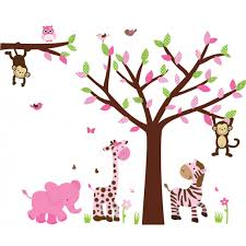 Bedroom Wall Decals Trees Pink U0026 Green Jungle Wall Murals With Tree Decals For Walls For Kids