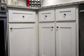 closeup of new shaker style doors and drawers refinished to a